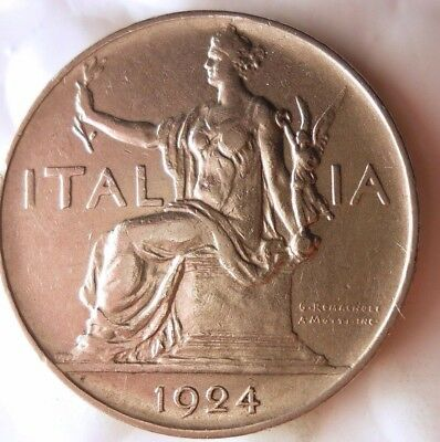 1924 ITALY LIRA - SCARCE - AU Excellent Vintage Coin - Lot #918