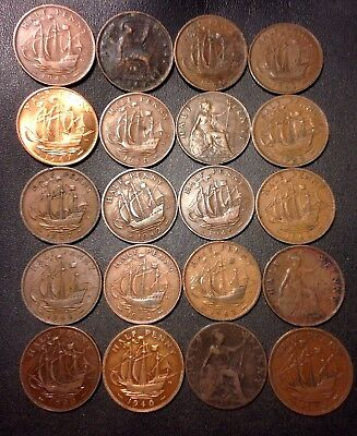 Vintage Great Britain Coin Lot - 20 Great Half Pennies - 1861-1967 - Lot #8918