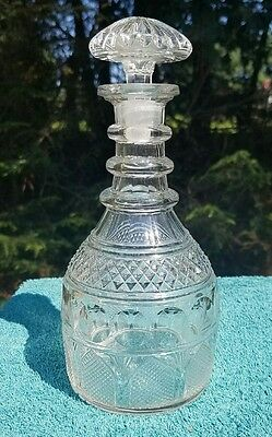 Antique EAPG Clear Glass Liquor DECANTER Cathedral Church Windows Like Pattern