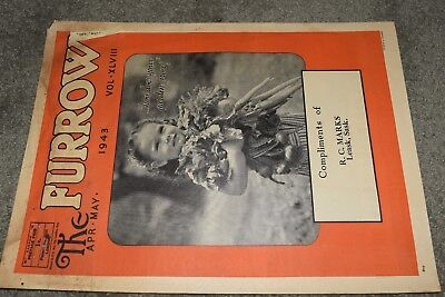 antique canadian THE FURROW JOHN DEERE magazine 1943 war effort tractors