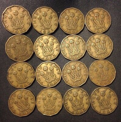 Vintage Great Britain Coin Lot! 1937-1952 - 3 PENCE -16 Excellent Coins -Lot 918