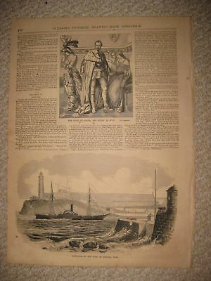 Antique 1854 Port Of Havana Cuba Steamboat Maritime Ship Print Superb Rare Nr