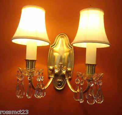 Vintage Sconces four antique 1920s Lightolier brass wall lights  High Quality