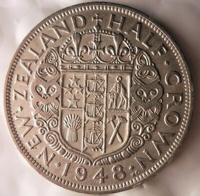 1948 NEW ZEALAND 1/2 CROWN -  AU Collectible Low Mintage Coin- LOT #918