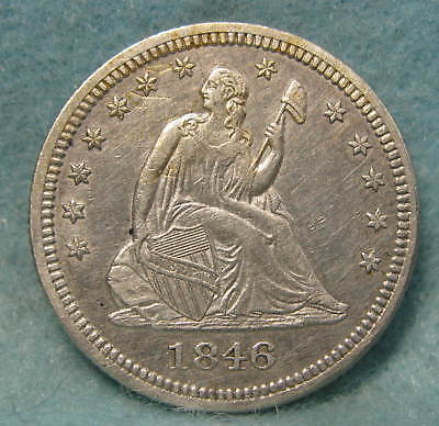 1846 Seated Liberty Silver Quarter XF+ Scarce Early Date! * Circulated US Coin *