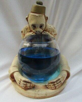 Rare Eclectic Vintage Plaster Monkey Holding Fish Bowl OKUN Co 1944 Wizard of Oz