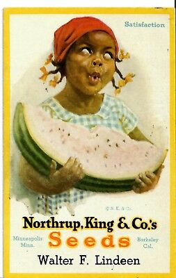 Black Girl with Watermelon Slice. Northrup, King, & Co's Seeds. Ink Blotter