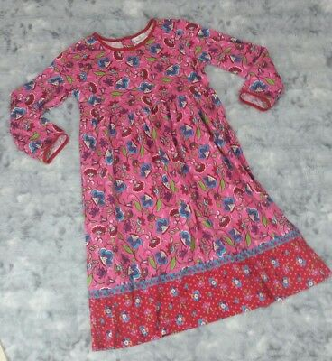 Hanna Andersson Girls Size 140 Dress Pink Floral Long Sleeve 100% Cotton