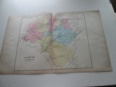 (1) One 1889 Antique Map-Massachusetts, City Of Newton;  G. Walker