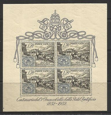 VATICAN 1952 100th ANNIVERSARY OF FIRST VATICAN STAMP, S.G 176M/S, MLH*