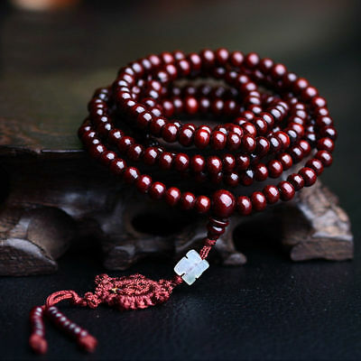 Tibetan Sandalwood Buddhist Buddha 216 Prayer Beads Mala Bracelet/Necklace