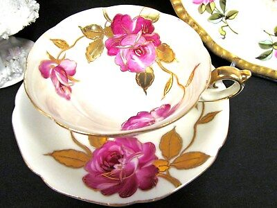 Made In Japan Painted Cabbage Rose Tea Cup And Saucer Gold Trims Teacup Pattern