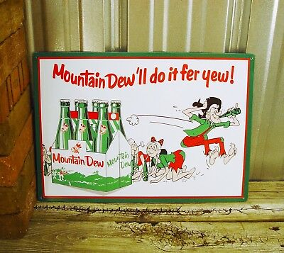 Mountain Dew Do it Fer For Yew You Six Pack Vintage Style Bottles Metal Tin Sign