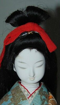 VINTAGE JAPANESE Doll LONG HAIR Gofun CLOSED EYES Elaborate Kimono