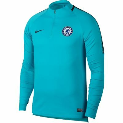 Nike Chelsea FC Official 2017 - 2018 MidLayer Soccer LS Training Top Sky Blue
