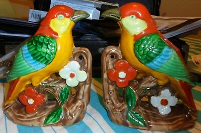 Pair Of Tropical Bird Vases Made In Occupied Japan