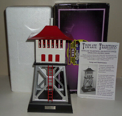 Mth Tinplate Traditions 10-1049 Black Base With Red Roof 438 Signal Tower Ob
