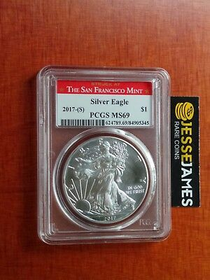 2017 (S) Silver Eagle Pcgs Ms69 'struck At San Francisco Mint' Red Label
