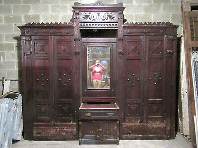 ~ Antique Carved Walnut Closet Front ~ Built In Armoire ~ 121 X 108 ~ Salvage ~