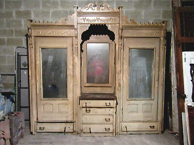 Antique Carved Walnut Closet Front~ Built In Armoire~ 108 X 104~ Salvage