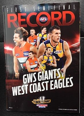 2017 AFL FIRST SEMI FINAL RECORD - GWS GIANTS v WEST COAST EAGLES