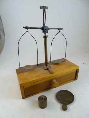 Antique Gold Balance Scale Henry Troemner Philadelphia PA Vintage Wood Portable