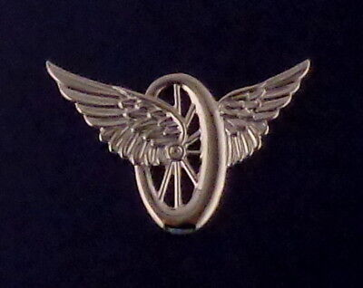 Wheel with Wings Winged Wheel Motorcycle Police Pin SILVER/NICKEL