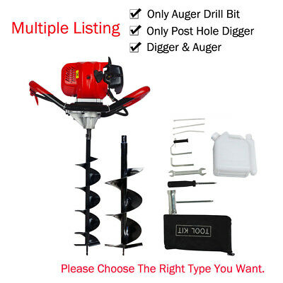 "2.2HP 52CC Gas Powered Post Hole Digger With 6""+10"" Earth Auger Digging Engine"