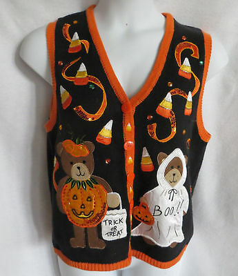 Halloween Sweater Vest Medium Black Knit Teddy Bears Candy Corn Appliqued