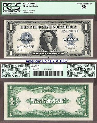 1923 $1 Blue Seal  FR 238 PCGS 58 Choice About New #1067