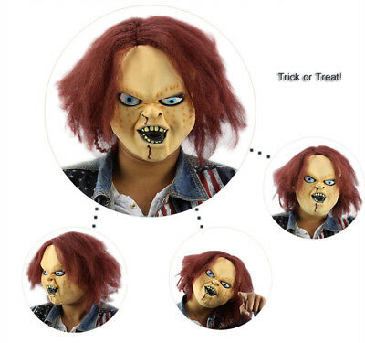 Horror Latex Mask & Wig fr Kids Play Chucky Action Figures Masquerade Halloween