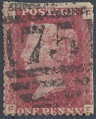 Great Britain Queen Victoria one penny red stamp Letters F E used