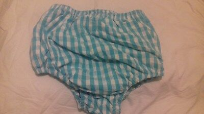 Adult baby waterproof White/blue gingam pants/nappy covers