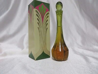 Vintage 70s Avon Sea Green Bud Vase MOD Olive Green Honeysuckle Foam Bath Oil