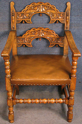 1920s Jacobean Style Solid Carved Oak & Leather Armchair / Side Chair