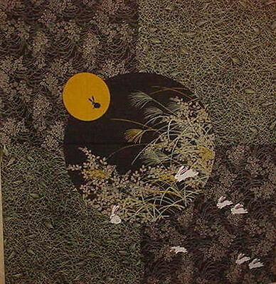 Furoshiki Wrapping Cloth Japanese Fabric 'Black Rabbit in the Moon' Cotton 50cm