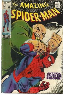 Amazing Spiderman 69 Dated February. 1969. Very Good Condition. Kingpin.