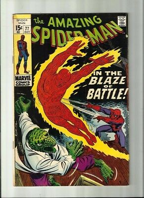 Amazing Spiderman 77 Dated Oct. 1969. Very Good Condition. Human Torch, Lizard.