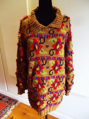 VINTAGE 1980s GILLY MOON ARTISAN HAND KNITTED  WOOL & MOHAIR SWEATER / DRESS XXL