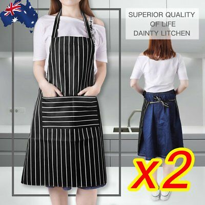 Apron Washable Cotton Poly Pocket Butcher Waiter Chef Kitchen Cooking Unisex 2X