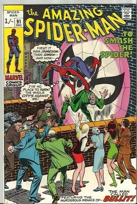 Amazing Spiderman 91 Dated December 1970 Very Good Condition. Pence Copy.
