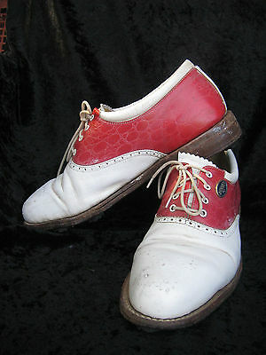 Vintage RETRO red white rockabilly golf shoes Australia made Barron Collectable