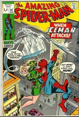 Amazing Spiderman 92 Dated January 1971 Very Good Condition. Iceman. Pence Copy.