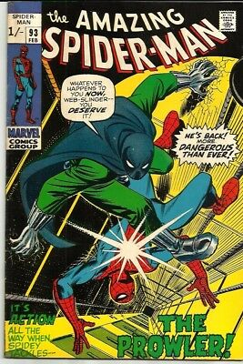 Amazing Spiderman 93 Dated Febuary 1971 Very Good Condition. Prowler. Pence Copy