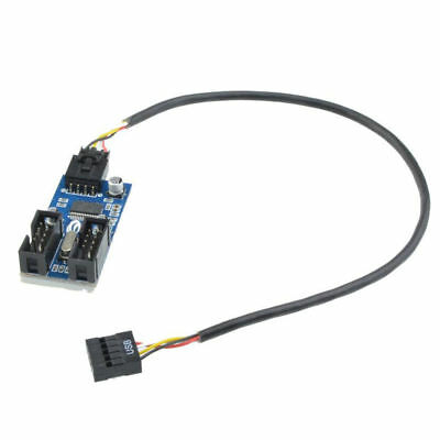 9pin USB Header Male 1 to 2 Female Extension Splitter Cable Connector Adapter WF