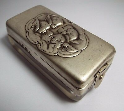 English Antique Edwardian 1902 Sterling Silver Cherubs Angels Table Powder Box