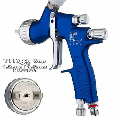 DeVilbiss GTi ProLite BLUE T110 Clearcoat/Gloss Smooth Spray Gun 1.2/1.3mm Tip