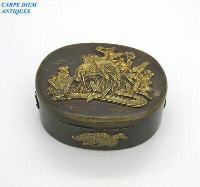 ANTIQUE JAPANESE BRONZE TRINKET BOX WITH CAST CRANES & FLOWERS DECORATION c1890