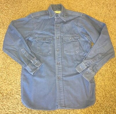 Vintage L.L BEAN Freeport Maine USA Blue Chamois Cloth Flannel SHIRT, Boys 14