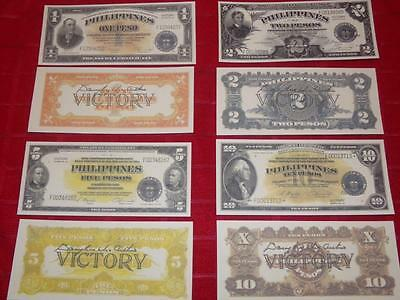 Very Rare Crisp Copies U.s. Philippine Victory Pesos Signed By General Macarthur